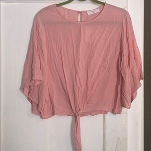 Pink Tie Bottom Blouse